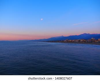 Winter sunset in Versilia, Tuscany, Italy