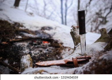 winter survival in the wild with knife