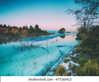 Winter swedish landscape at sea coast with pine trees and frozen bay