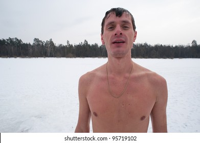 The winter swimmer outdoor after swimming, Siberia