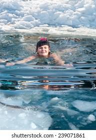 Winter swimming in the Primorye region, Russia