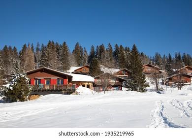 Winter in the swiss alps, Arvenbuel village near Amden canton of St. Gallen in , Switzerland