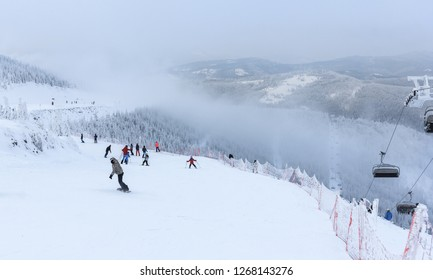 Winter in Szczyrk in Beskidy Mountains - New ski slope from Zbojnicka Kopa to Hala Skrzyczenska opened  December 2018