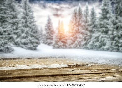 Winter table background and free space for your decoration