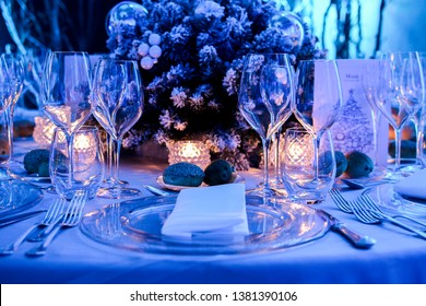 winter table settings for christmas event, dinner gala and charity dinner