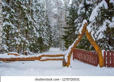Winter Taevaskoja (Taevaskoda) near Ahja jõgi in Estonia