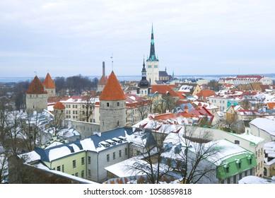 Winter Tallinn on a cloudy day. Estonia