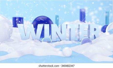 Winter Text Landscape 3D Scene