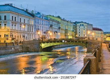 Winter thaws. Moika River Embankment. St. Petersburg, Russia