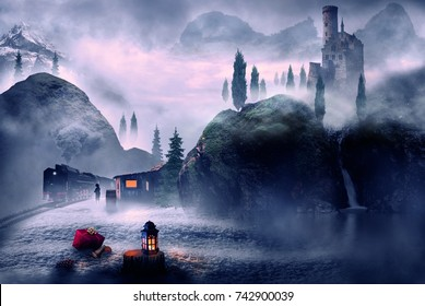 winter theme christmas lantern and landscape fantasy