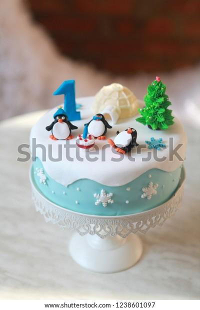 Amazing Winter Theme Year Birthday Cake Stock Photo Edit Now 1238601097 Funny Birthday Cards Online Elaedamsfinfo
