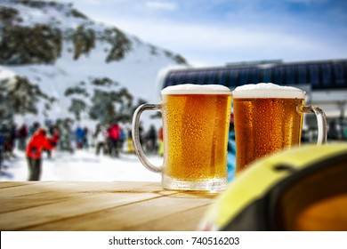 Winter time and cold beer on table