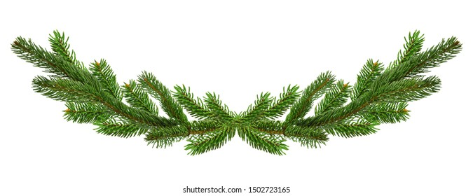Winter Time frame or holiday wreath made of pine branches. Natural winter and Christmas garland with pine branches. Festive card for the holiday season.Isolated on a white background without shadow.