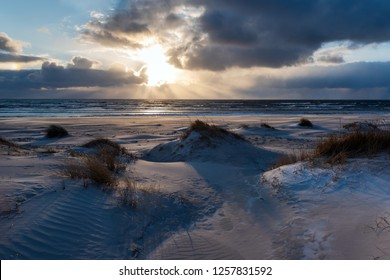 Winter time on Baltic sea beach, Liepaja , Latvia.