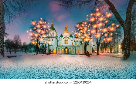 Winter time for special-old Sophia monastery in Kiev ... quiet old park, ancient trees and grandeur most revered and beloved Church in Ukraine  foundation of the church in the 10th century-