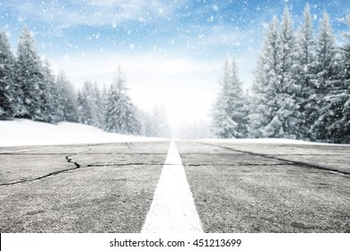 winter time and street of free place