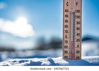 Winter time. Thermometer on snow shows low temperatures in celsius.