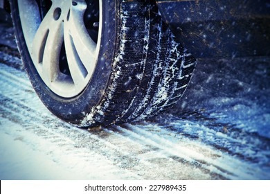 Winter tire on a cold winter day
