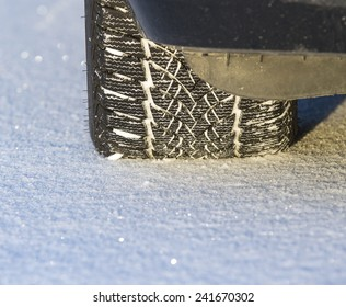 Winter tire on snow.