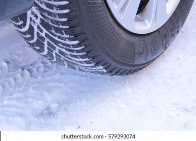 Winter tire on snow