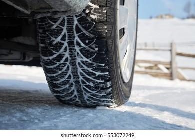 Winter tire in snow.