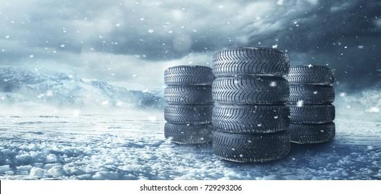 Winter tire in snowfall