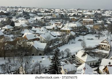 Winter town Dear little town in winter afternoon.