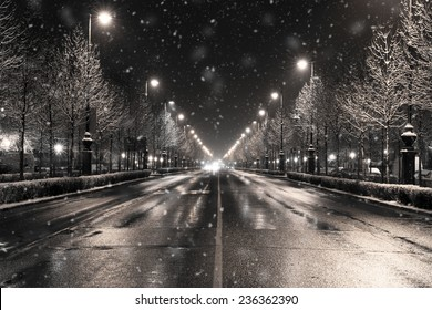 winter townscape in a snowfall, budapest