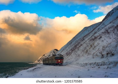 Winter train on the South coast of Sakhalin.