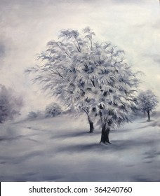 Winter Trees ice oil painting neutral colors