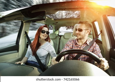 winter trip time and two lovers in car