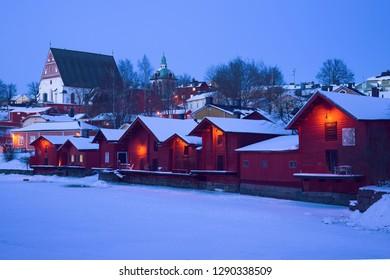 Winter twilight in old Porvoo. Finland