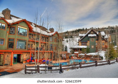 Winter vacation concept - resorts, swimming pools and ski center in Aspen Colorado during the winter of 2016. Colorful HDR image