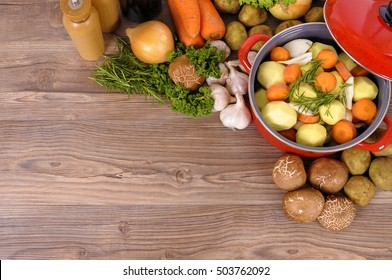 Winter vegetables with stew pot, copy space