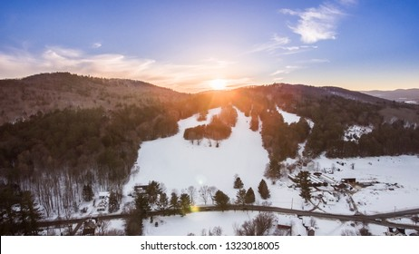 Winter in Vermont from a drone