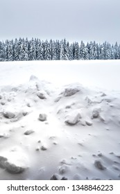 winter vertical background with lot of snow