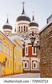 winter view of the Alexander Nevsky Cathedral in Tallinn, Estonia