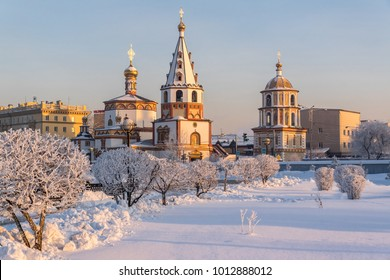Winter view of the Cathedral of the Epiphany in Irkutsk