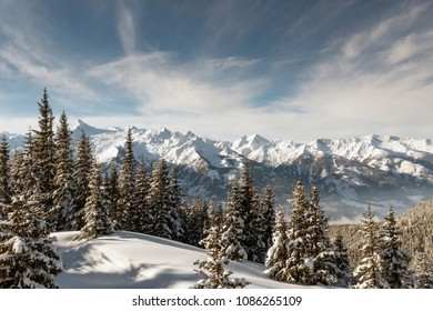 Winter View of The Central Eastern Austrian Alps Seen From The Ski Slopes of Zell Am See in Austria