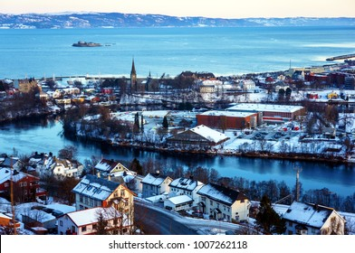 Winter view of the city of Trondheim in Norway