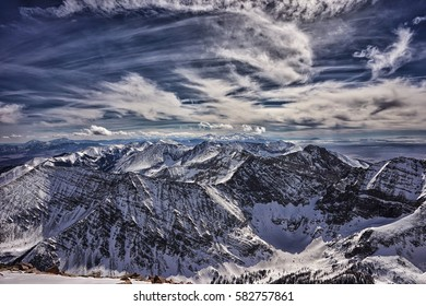 Winter view of the Colorado Rocky Mountains.  Taken from the snow covered summit of Humboldt Peak.