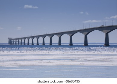 A winter view of the Confederation Bridge that links Prince Edward Island, Canada with mainland New Brunswick. (as viewed from the PEI side)