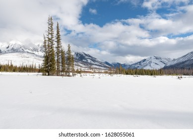 Winter view of the confluence of the Vermilion River and the Simpson River in Kootenay National Park, British Columbia, Canada