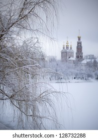 Winter view to covered with snow Novodevichy monastery in Moscow