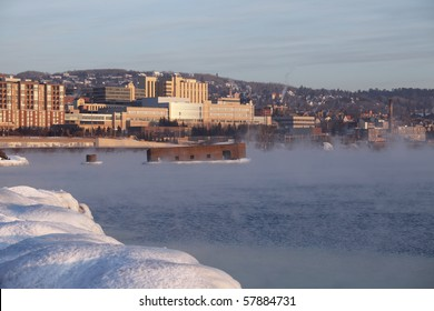 Winter view of Duluth, Minnesota on Lake Superior.