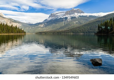 Winter view of Emerald Lake with Rocky mountain reflection in Yoho National Park, British Columbia, canada