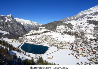 Winter view of Engelberg village with Eugenisee lake, see from the gondola to mount Titlis, Engelberg Switzerland.