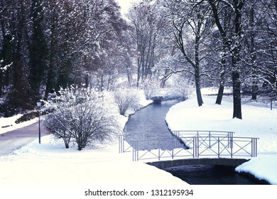 Winter view of Englischer garten covered by snow in center Munich