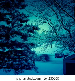 Winter view in the evening covered with snow.