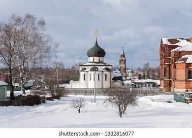 Winter view of the famous Saint George Cathedral in Yuryev-Polsky from the ramparts, Russia